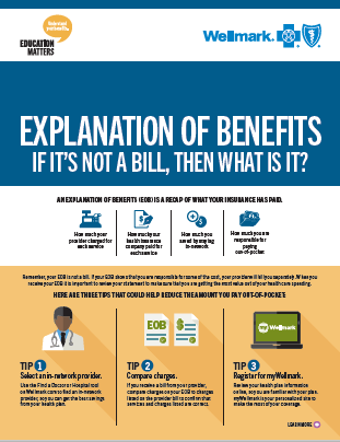 Front cover of the Wellmark Explanation of Benefits Flyer
