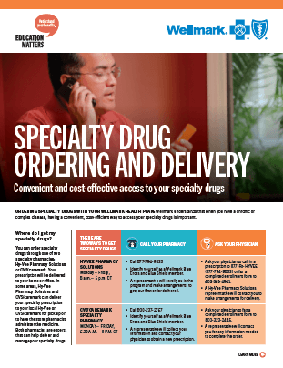 Front cover of the Wellmark Specialty Drug Flyer