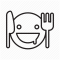 knife, plate with smiley face, and fork