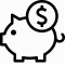 Piggy bank with money icon