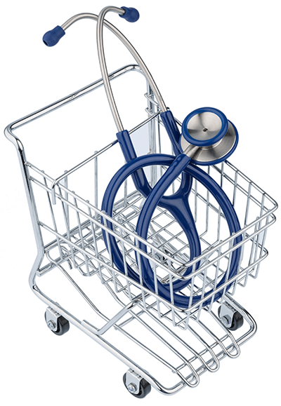 Shopping cart with stethoscope