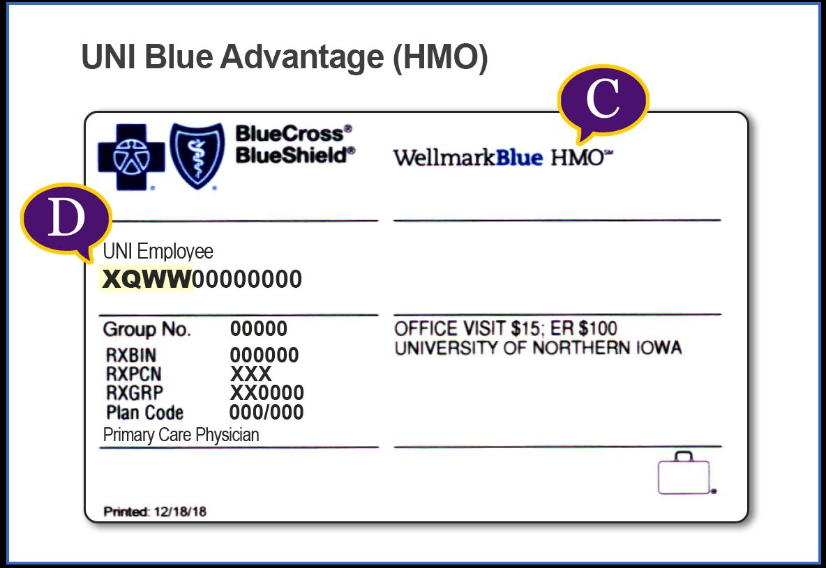 UNI HMO Insurance Card Example