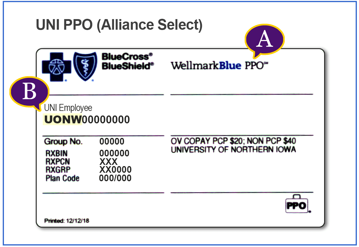 UNI PPO Insurance Card Example